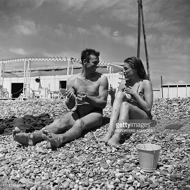 Simone Signoret and Yves Montand on the set of 'Le salaire de la Peur' by Henri Georges Clouzot in 1953