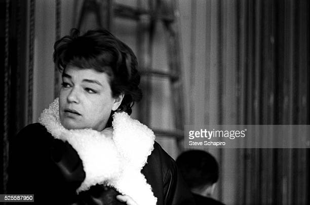 Simone Signoret is shown backstage during a performance of her husband Yves Montand's Broadway show