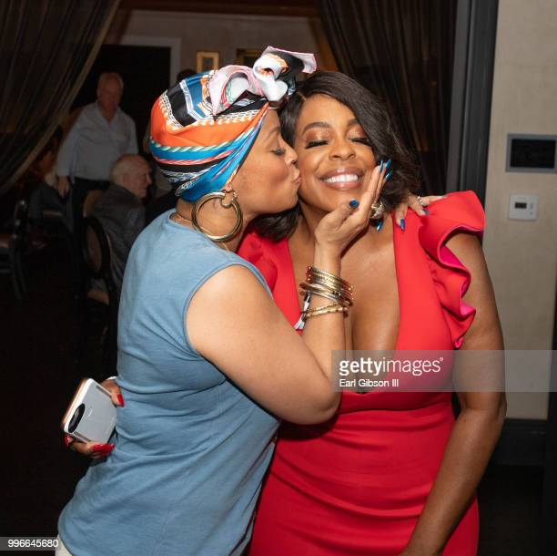 Simone Smith gives actress Niecy Nash a congratulations kiss at the afterparty as Niecy Nash is honored with a Star On The Hollywood Walk Of Fame on...