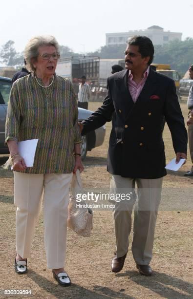 Simone Tata and Anand Mahindra during Horse Polo match