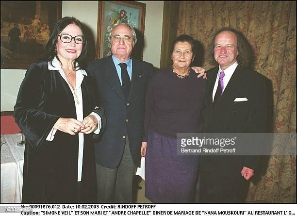 Simone Veil and her husband Antoine and Andre Chapelle Nana Mouskouri wedding dinner at the restaurant L'Orangerie in Paris