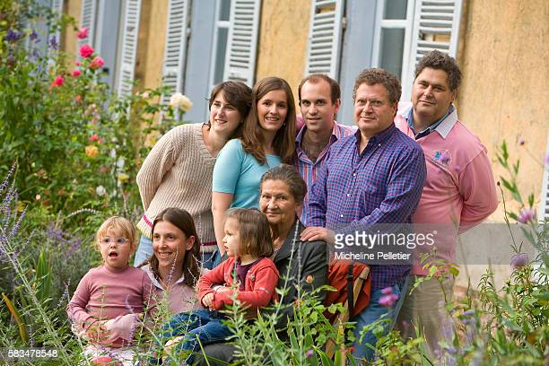 Simone Veil former State Minister and president of the European Parliament with her family sons Pierre Francois and Jean her grandson Aurelien and...