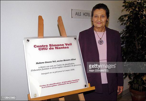 Simone Veil gives his name to the planning center family education and voluntary termination of CHU of Nantes France On March 08 2006Simone Veil...