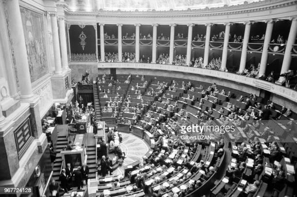 Simone Veil à l'assemblée nationale lors du projet de loi sur l'interruption volontaire de grossesse à Paris le 26 novembre 1974 France