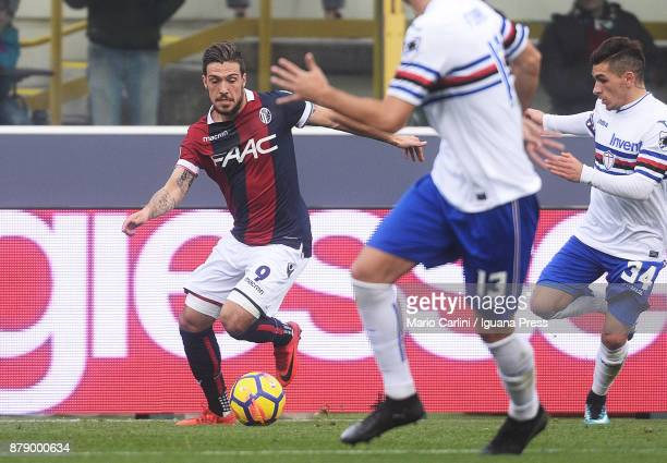 Simone Verd of Bologna FC in action during the Serie A match between Bologna FC and UC Sampdoria at Stadio Renato Dall'Ara on November 25 2017 in...