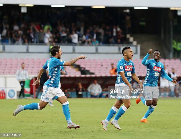Simone Verdi Amadou Diawara and Adam Ounas of SSC Napoli celebrate the 10 goal scored by Arkadiusz Milik during the Serie A match between SSC Napoli...