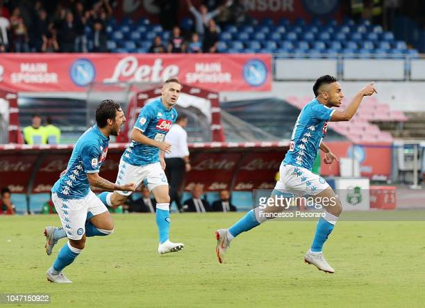 Simone Verdi Marko Rog and Adam Ounas of SSC Napoli celebrate the 10 goal scored by Adam Ounas during the Serie A match between SSC Napoli and US...