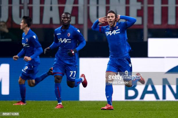 Simone Verdi of Bologna FC celebrates after scoring a goal during the Serie A football match between AC Milan and Bologna FC AC Milan won 21 over...