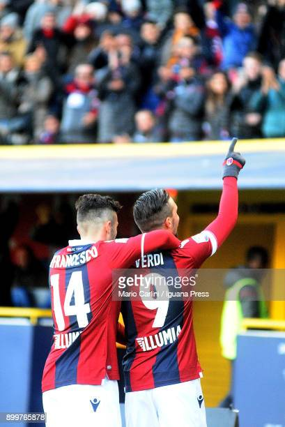 Simone Verdi of Bologna FC celebrates after scoring a goal during the serie A match between Bologna FC and Udinese Calcio at Stadio Renato Dall'Ara...