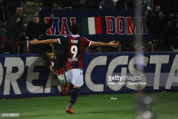 Simone Verdi of Bologna FC celebrates after scoring his team's and personal second goal during the Serie A match between Bologna FC and FC Crotone at...