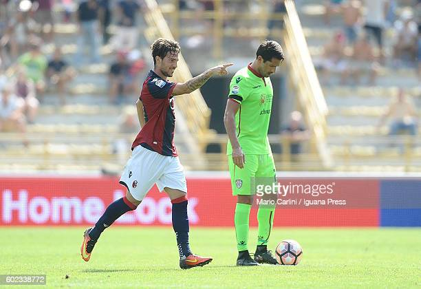 Simone Verdi of Bologna FC celebrates after scoring the opening goal during the Serie a match between Bologna FC and Cagliari Calcio at Stadio Renato...
