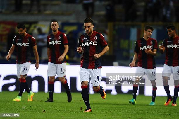 Simone Verdi of Bologna FC celebrates after scoring the opening goal during the Serie A match between Bologna FC and UC Sampdoria at Stadio Renato...