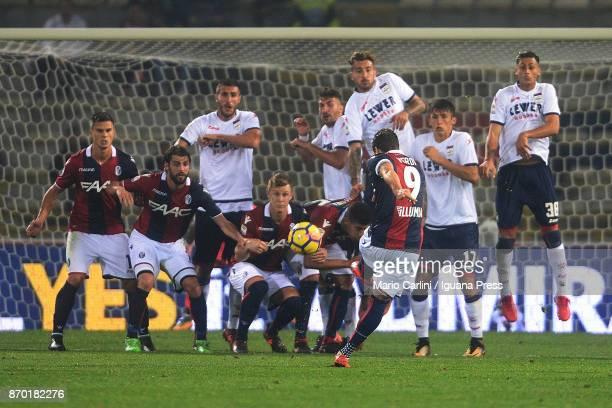 Simone Verdi of Bologna FC kicks a free kick towards the goal during the Serie A match between Bologna FC and FC Crotone at Stadio Renato Dall'Ara on...