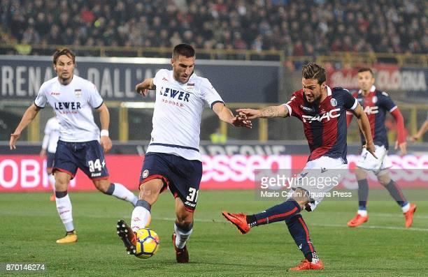 Simone Verdi of Bologna FC kicks towards the goal during the Serie A match between Bologna FC and FC Crotone at Stadio Renato Dall'Ara on November 4...