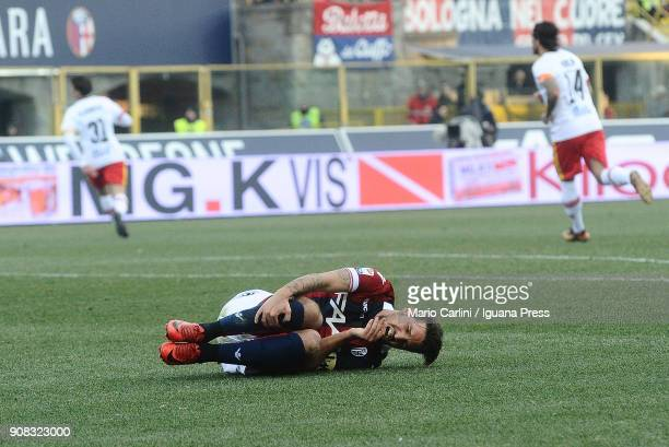 Simone Verdi of Bologna FC looks aching during the serie A match between Bologna FC and Benevento Calcio at Stadio Renato Dall'Ara on January 21 2018...
