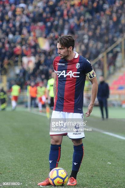 Simone Verdi of Bologna FC looks on during the serie A match between Bologna FC and Benevento Calcio at Stadio Renato Dall'Ara on January 21 2018 in...