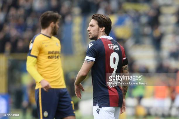 Simone Verdi of Bologna FC looks on during the serie A match between Bologna FC and Hellas Verona FC at Stadio Renato Dall'Ara on April 15 2018 in...