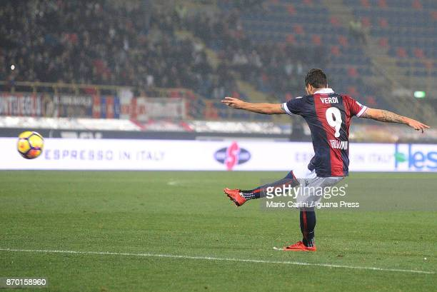 Simone Verdi of Bologna FC scores his team's and personal second goal during the Serie A match between Bologna FC and FC Crotone at Stadio Renato...