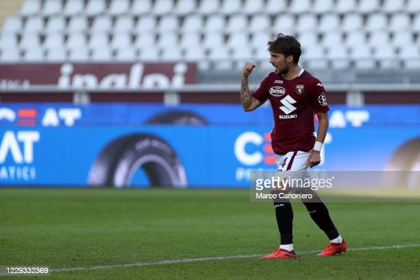 Simone Verdi of Torino FC celebrate after scoring a goal during the Coppa Italia match between Torino Fc and Us Lecce. Torino Fc wins 3-1 over Us...