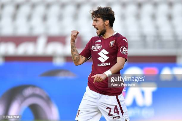 Simone Verdi of Torino FC celebrates a goal during the Coppa Italia match between Torino FC and US Lecce at Stadio Olimpico Grande Torino on October...