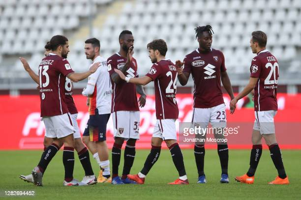 Simone Verdi of Torino FC celebrates with team mates after scoring from the penalty spot to give the side a 2-1 lead during the Coppa Italia match...
