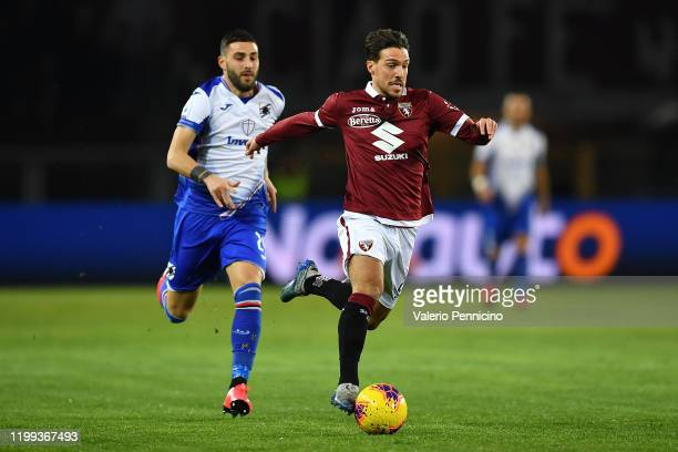 Simone Verdi of Torino FC in action during the Serie A match between Torino FC and UC Sampdoria at Stadio Olimpico di Torino on February 8 2020 in...