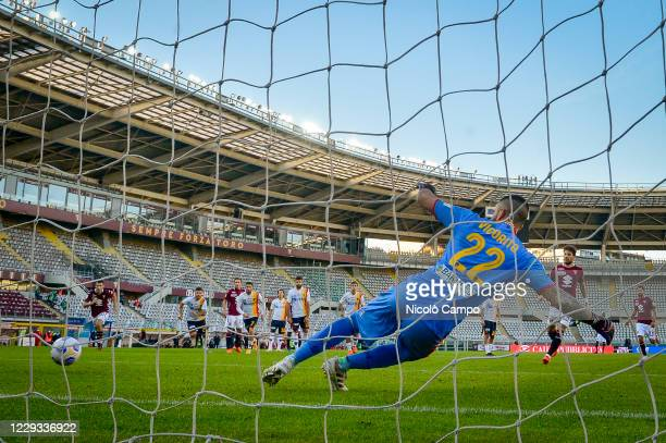 Simone Verdi of Torino FC scores a goal from a penalty kick during the Coppa Italia football match between Torino FC and US Lecce. Torino FC won 3-1...