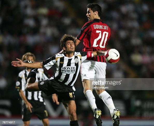 Simone Vergassola Of Siena And Yoann Gourcuff Of Ac Milan Jump For News Photo Getty Images