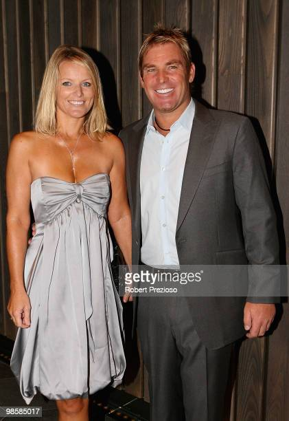 Simone Warne and Shane Warne attend the opening party of the Crown Metropol hotel on April 21, 2010 in Melbourne, Australia.