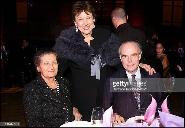 Simone Weil Roselyne Bachelot Narquin and Frederic Mitterrand at Charity Dinner Celebrating 25 Years Of Support To Reopen L' Ecole Nationale...