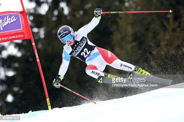 Simone Wild of Switzerland competes during the Audi FIS Alpine Ski World Cup Women's Giant Slalom on March 9 2018 in Ofterschwang Germany