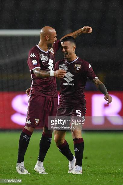 Simone Zaza and Armando Izzo of Torino FC celebrate victory at the end of the Serie A match between Torino FC and SPAL at Stadio Olimpico di Torino...