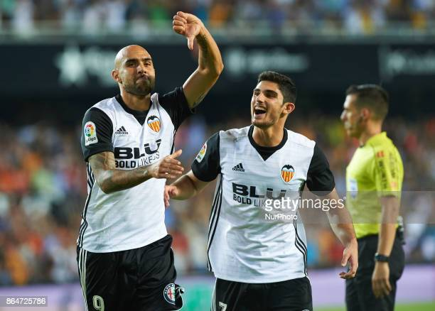 Simone Zaza and Gonzalo Guedes of Valencia CF celebrates after scoring a goal during the La Liga match between Valencia CF and Sevilla FC at Estadio...