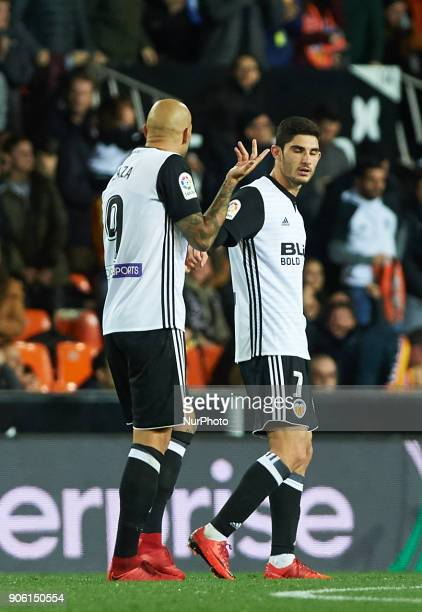 Simone Zaza and Gonzalo Guedes of Valencia CF celebrates after scoring a goal during the Spanish Copa del Rey Round of 8 match between Valencia CF...
