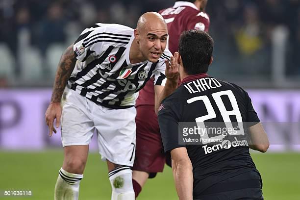 Simone Zaza of FC Juventus mocks Salvador Ichazo of Torino FC during the TIM Cup match between FC Juventus and Torino FC at Juventus Arena on...
