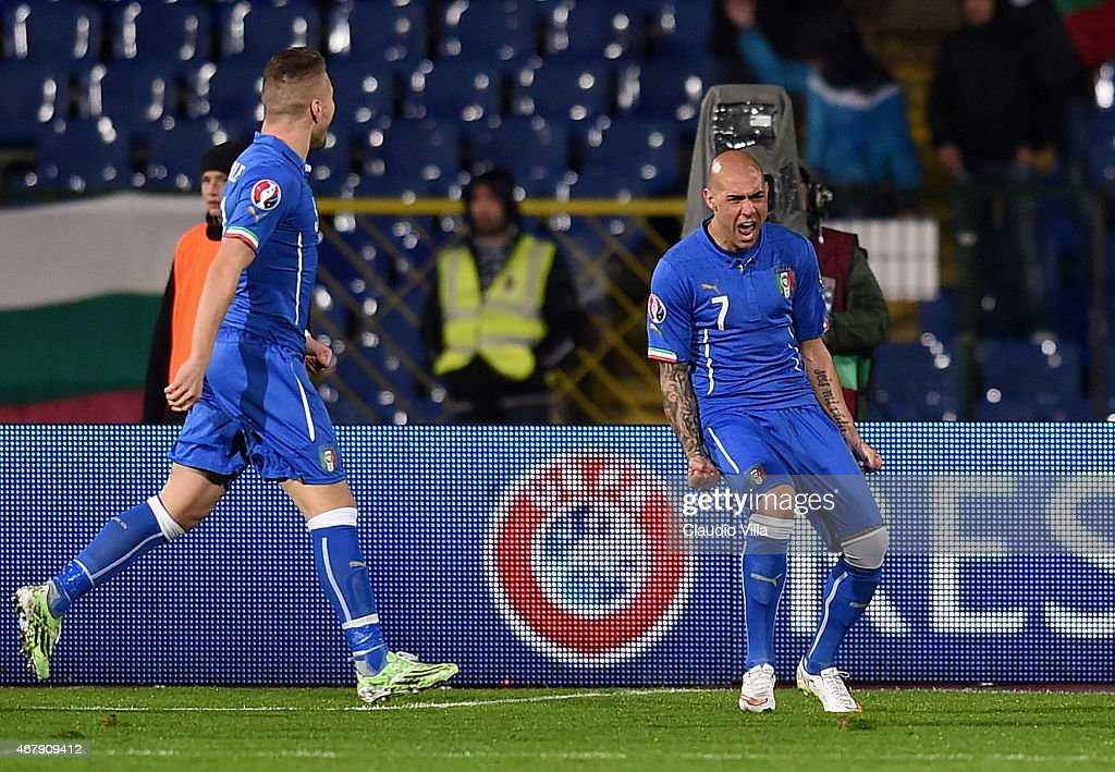 Simone Zaza of Italy #7 celebrates after scoring the first goal during the Euro 2016 Qualifier match between Bulgaria and Italy at Vasil Levski National Stadium on March 28, 2015 in Sofia, Bulgaria.