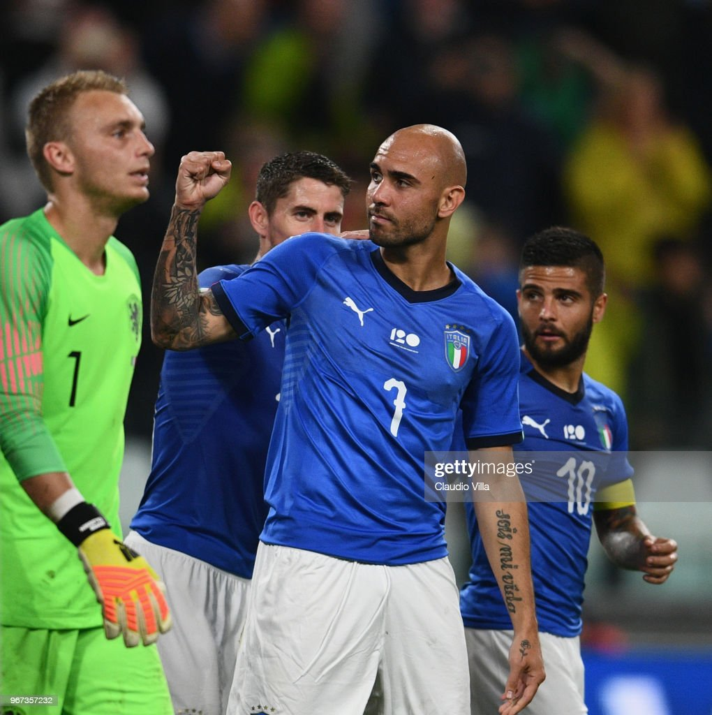 Simone Zaza of Italy celebrates after scoring the opening goal during the International Friendly match between Italy and Netherlands at Allianz Stadium on June 4, 2018 in Turin, Italy.