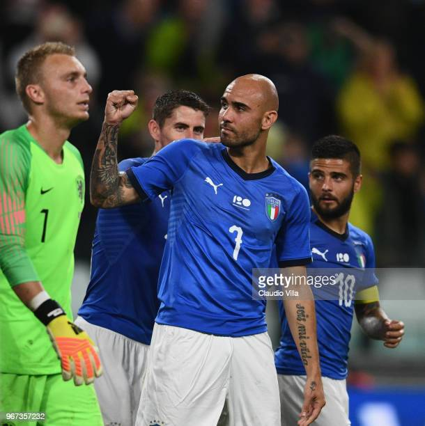 Simone Zaza of Italy celebrates after scoring the opening goal during the International Friendly match between Italy and Netherlands at Allianz...