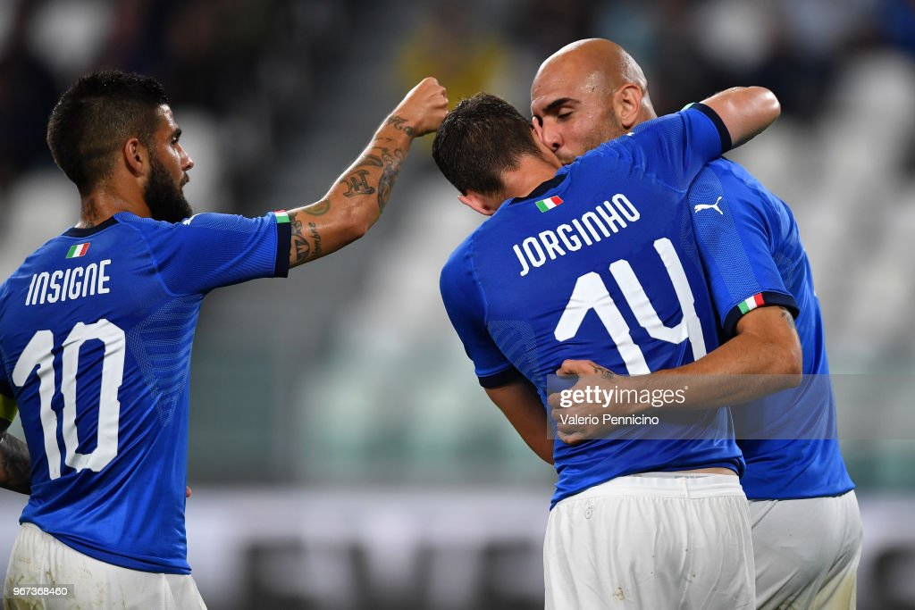 Simone Zaza (R) of Italy celebrates with Lorenzo Insigne and Jorginho after scoring the opening goal during the International Friendly match between Italy and Netherlands at Allianz Stadium on June 4, 2018 in Turin, Italy.