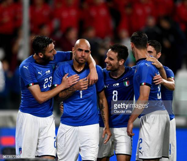 Simone Zaza of Italy celebrates with teammates after scoring the opening goal during the International Friendly match between Italy and Netherlands...
