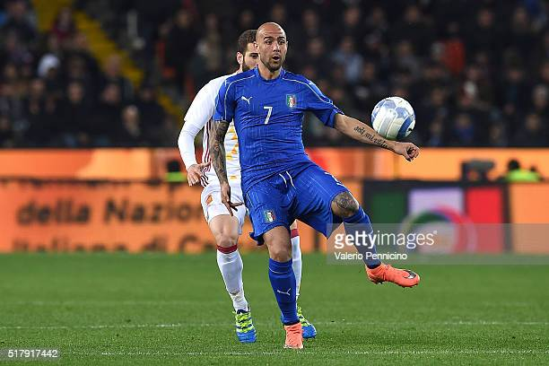 Simone Zaza of Italy in action during the international friendly match between Italy and Spain at Stadio Friuli on March 24 2016 in Udine Italy