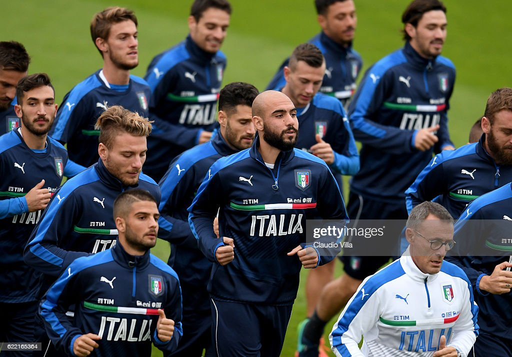 Simone Zaza of Italy (C) in action during the training session at the club's training ground at Coverciano on November 10, 2016 in Florence, Italy.
