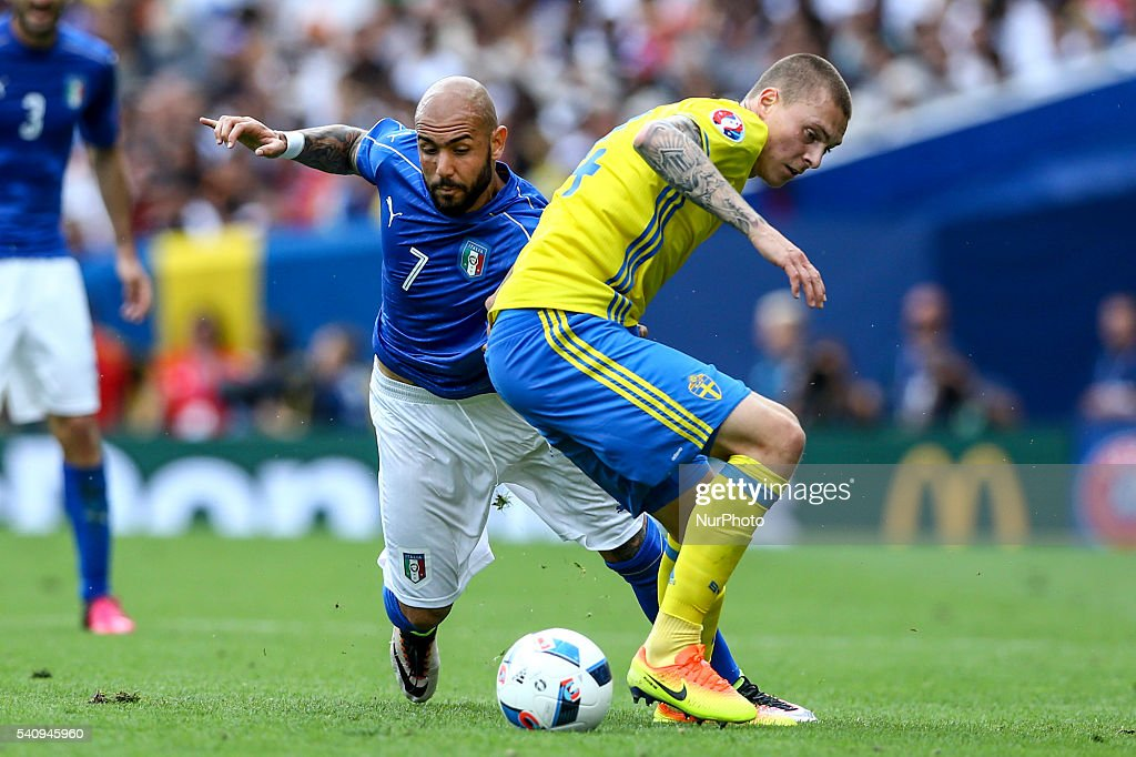 Simone Zaza of Italy is challenged by Victor Nilsson Lindelof of Sweeden during the UEFA EURO 2016 Group E match between Italy and Sweden at Stadium Municipal on June 17, 2016 in Toulouse, France.