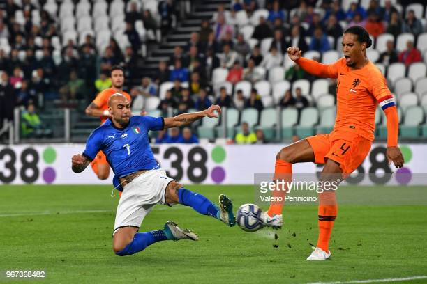 Simone Zaza of Italy scores the opening goal during the International Friendly match between Italy and Netherlands at Allianz Stadium on June 4 2018...