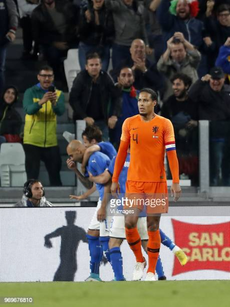 Simone Zaza of Italy Virgil van Dijk of Holland during the International friendly match between Italy and The Netherlands at Allianz Stadium on June...