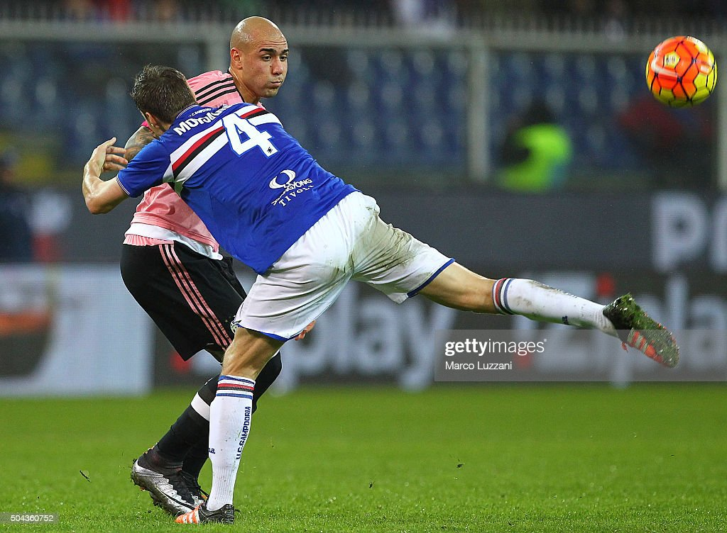 Simone Zaza (back) of Juventus FC competes for the ball with Niklas Moisander #4 of UC Sampdoria during the Serie A match between UC Sampdoria and Juventus FC at Stadio Luigi Ferraris on January 10, 2016 in Genoa, Italy.