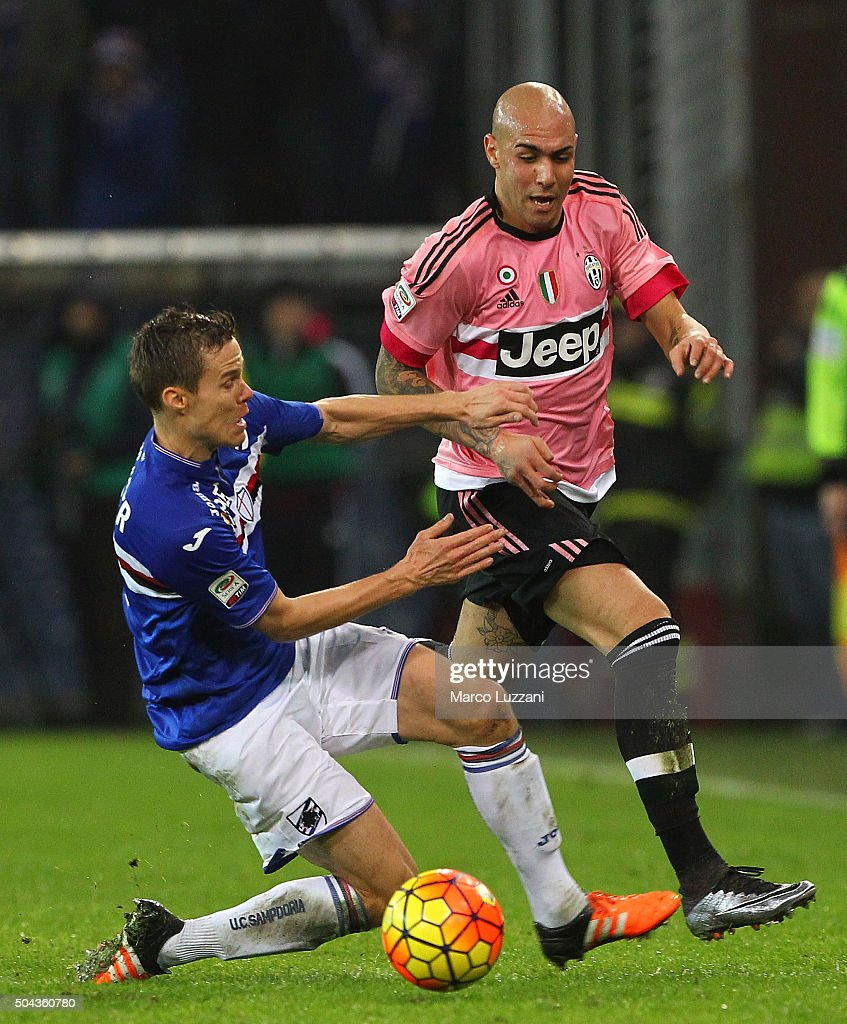 Simone Zaza (R) of Juventus FC competes for the ball with Niklas Moisander (L) of UC Sampdoria during the Serie A match between UC Sampdoria and Juventus FC at Stadio Luigi Ferraris on January 10, 2016 in Genoa, Italy.