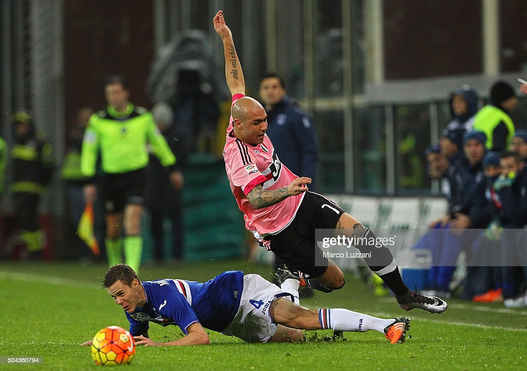 Simone Zaza (up) of Juventus FC competes for the ball with Niklas Moisander (down) of UC Sampdoria during the Serie A match between UC Sampdoria and Juventus FC at Stadio Luigi Ferraris on January 10, 2016 in Genoa, Italy.