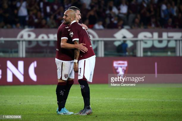 Simone Zaza of Torino FC and Andrea Belotti during the UEFA Europa League third qualifying round football match between Torino Fc and Shakhtyor...