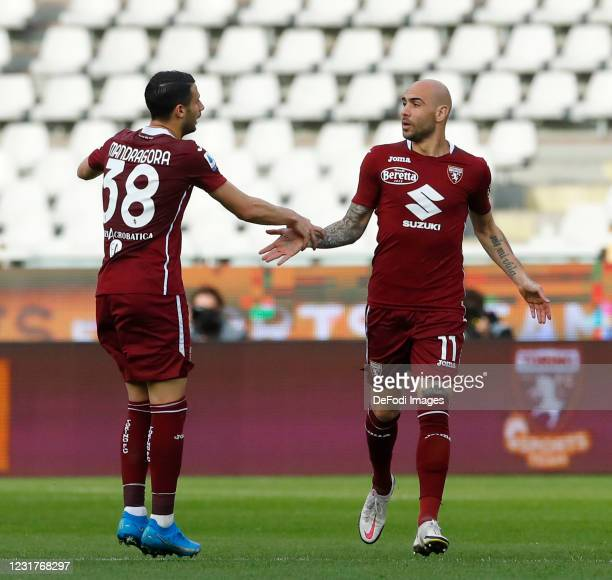 Simone Zaza of Torino FC and Rolando Mandragora of Torino FC celebrates after scoring his team's first goal during the Serie A match between Torino...